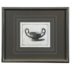 Framed Etching, Neoclassical Vessel, 19th Century