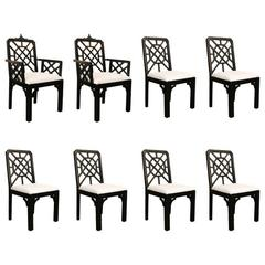 Set of Eight Chippendale Faux Bamboo Dining Chairs