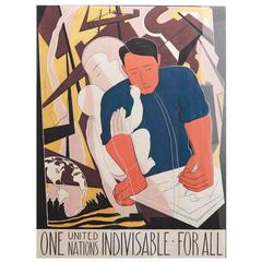 """One United Nations Indivisible,"" Stunning, Original Painting for UN Poster"