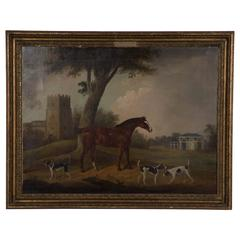 Oil on Canvas, Horse and Hunting Dogs, circa 1830