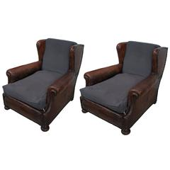 Pair of Brown Leather and Blue Linen Seat and Back Cushions Club Chairs