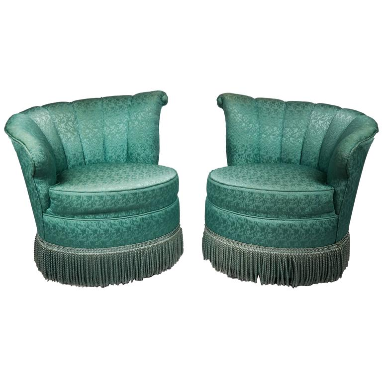 Mirrored Pair Of Art Deco Tete A Chairs For
