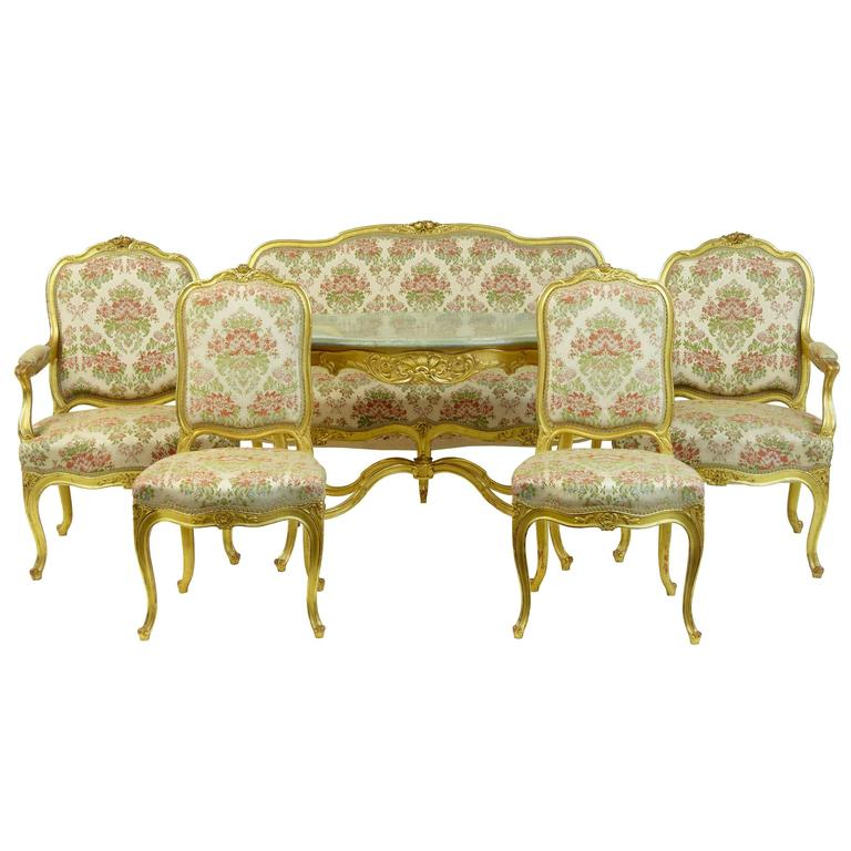 Stunning Early 20th Century Six-Piece Gilt French Salon Suite For Sale