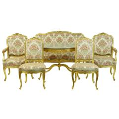 Stunning Early 20th Century Six-Piece Gilt French Salon Suite