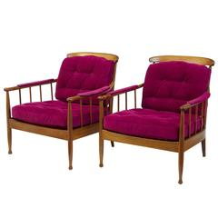Pair of 1960s, Swedish Walnut Ope Mobler Lounge Chairs