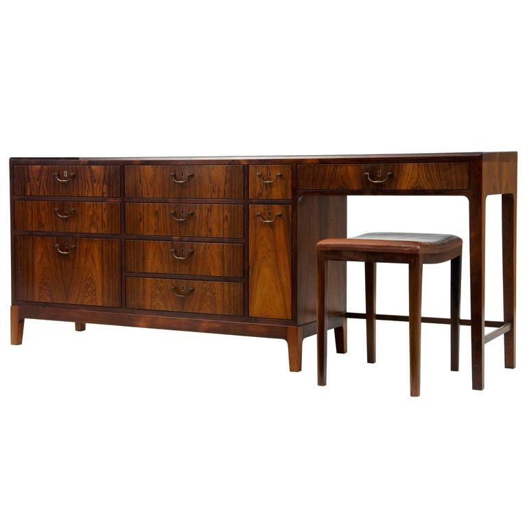 1960s Danish Design Rosewood Dressing Sideboard by Frode Holm For Sale