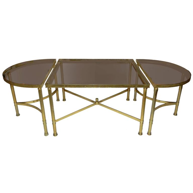 French Three-Part Brass Cocktail Tables At 1stdibs