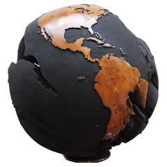 "Monumental One of a Kind Black Wooden Globe / ""Abyss"""