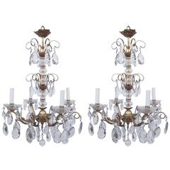 Pair of Gilt and Crystal Chandeliers