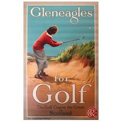 """Early Original Poster """"Gleneagles for Golf - The Caledonian Railway Scotland"""""""