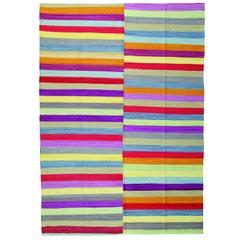 Handmade Kilim Rugs, Carpet from Afghanistan, Modern Striped Kelim Rugs