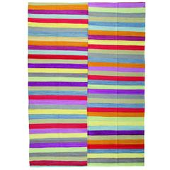 Kilim Rugs, Carpet from Afghanistan, Modern Striped Kilim Rugs,