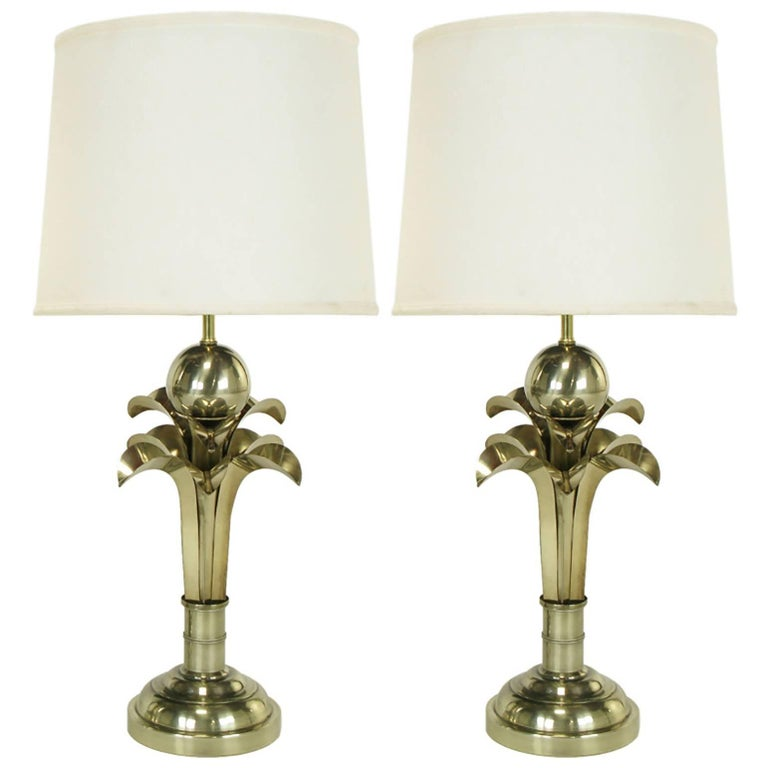 Pair of Art Deco Revival Gold Metal Palm Tree Table Lamps For Sale