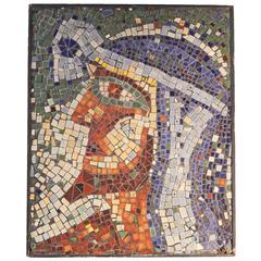"""Bearded Egyptian,"" Vivid and Unique Mosaic Panel, Art Deco Mid-Century"