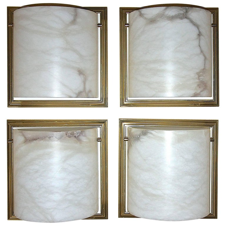 Four Lightolier Alabaster Brass Sconces