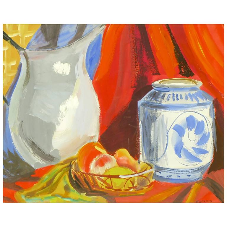 William August Hoffman Colorful Still Life For Sale