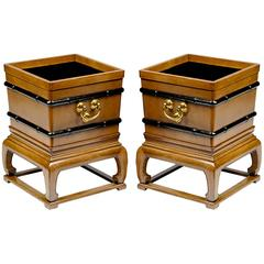 Rare Pair of Baker Far East Mahogany Jardinieres