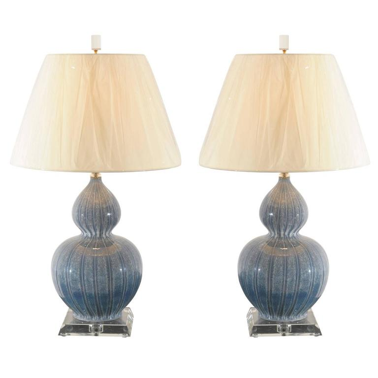 Sophisticated Pair of Ceramic Drip Glaze Lamps with Lucite and Brass Accents