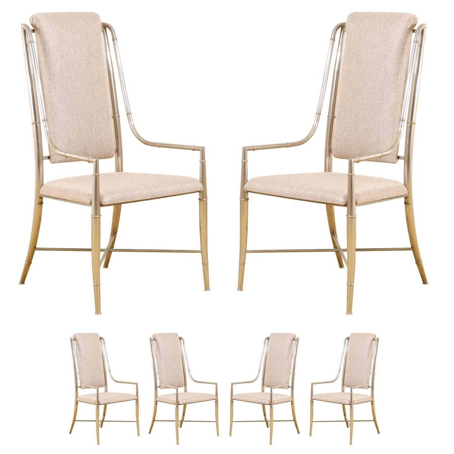 unique set of six pewter dining chairs by mastercraft for