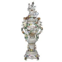 Very Large and Impressive Dresden Porcelain Vase and Cover