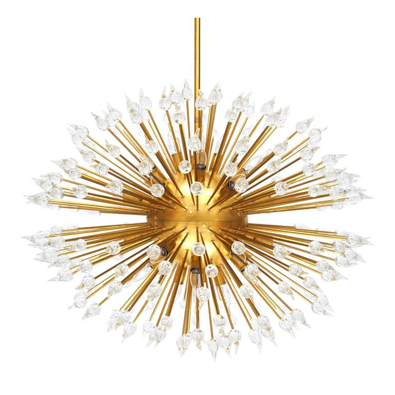 Brass and Murano Suspension Lamp For Sale