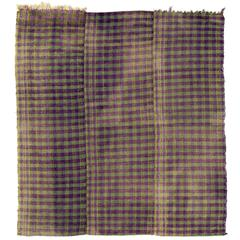 Vintage Chequered Turkish Kilim, Purple and Citrus Green Color