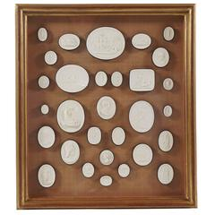 Framed Collection of Thirty 19th Century Italian Grand Tour Plaster Intaglios