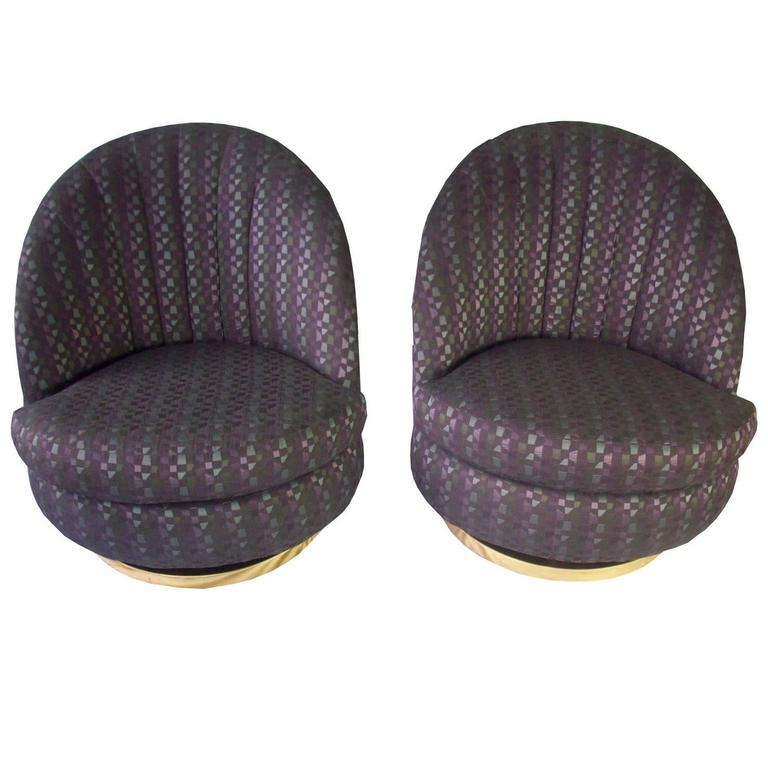 Pair of Milo Baughman Purple Patterned Swivel Lounge Chairs for Thayer Coggin For Sale