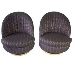 Pair of Milo Baughman Purple Patterned Swivel Lounge Chairs for Thayer Coggin