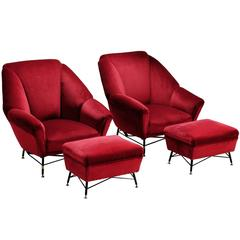 Italien Red Velvet Lounge Chair with Accompanying Ottoman