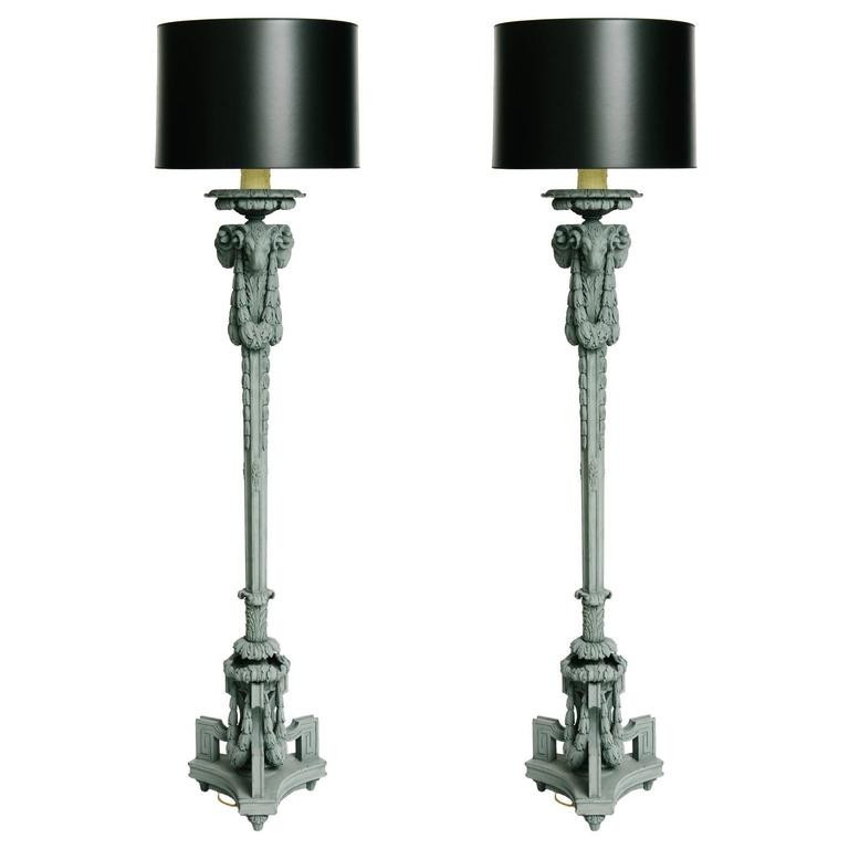 Pair of 19th Century Neoclassical Style Carved Ram's Head Floor Lamps