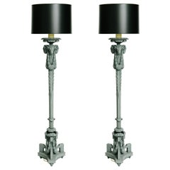 Pair of 20th Century Neoclassical Style Carved Ram's Head Floor Lamps
