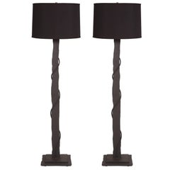 Brutalist Pair of Iron and Copper Floor Lamps