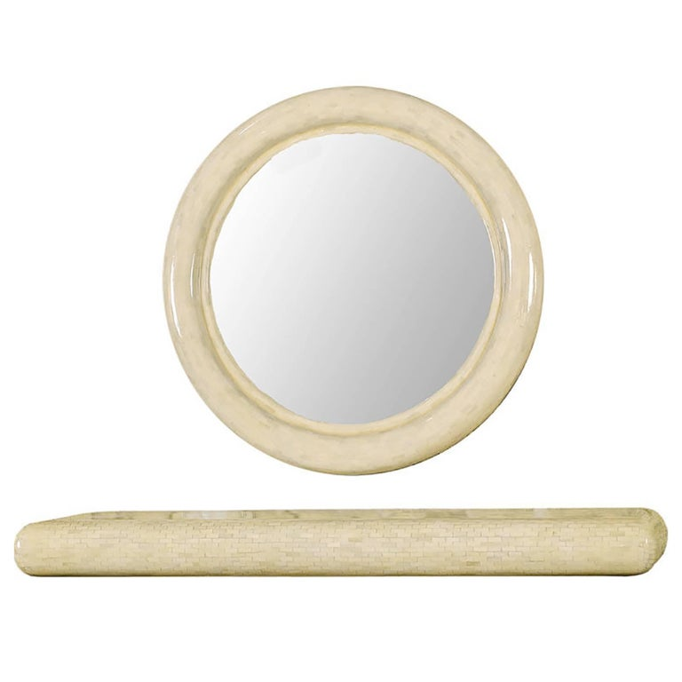 Round Tessellated Bone Mirror with Wall Mounted Console Table For Sale