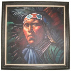 Impressive Native American Oil  Painting by Braun 51x43