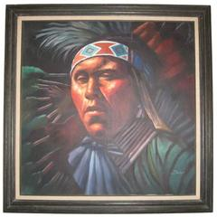 Impressive Native American Oil  Painting by Braun
