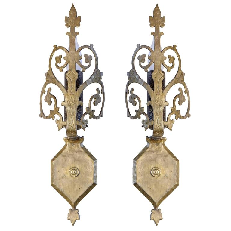 Wall Sconces Gothic : Gothic Revival Beardslee Sconce in Hammered Cast Brass at 1stdibs