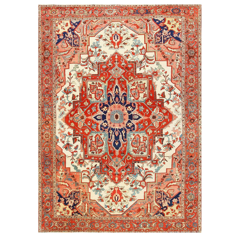 Antique Persian Heriz Rug Bb2402: Large Antique Persian Heriz Serapi Rug For Sale At 1stdibs