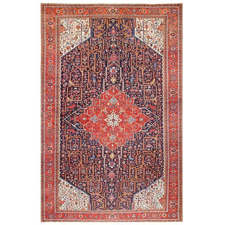 Antique Persian Heriz Rug Bb2402: Oversize Antique Persian Heriz Serapi Rug For Sale At 1stdibs
