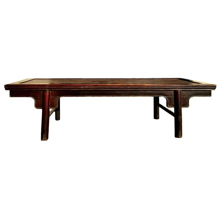 Large Chinese Antique Bench Or Low Table With Rattan Ming