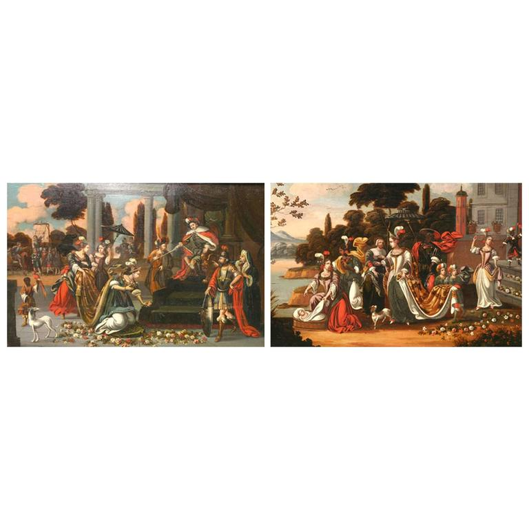 Pair of Dutch Framed Early 18th Century Painted Panels