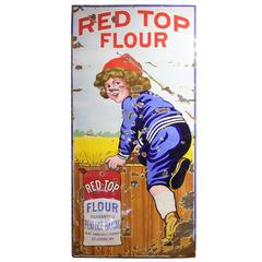 "Tall Rare Antique Porcelain Advertising Sign for ""Red Top Flour'"