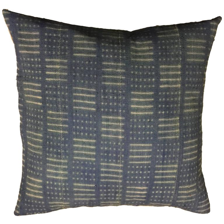 Pair of African Indigo Pillows For Sale