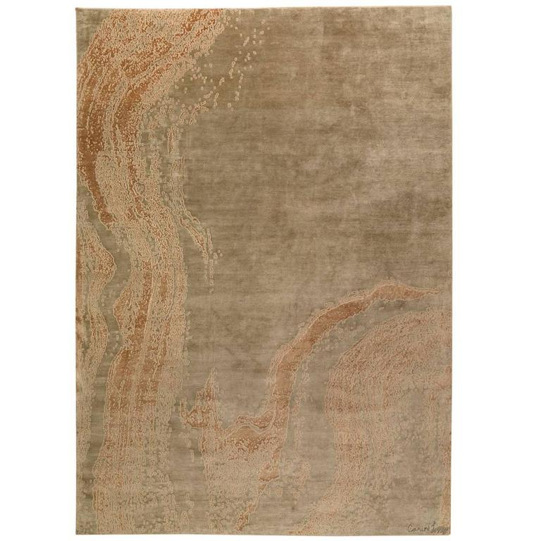Contemporary Abstract Area Rug in Silk 10x14 For Sale