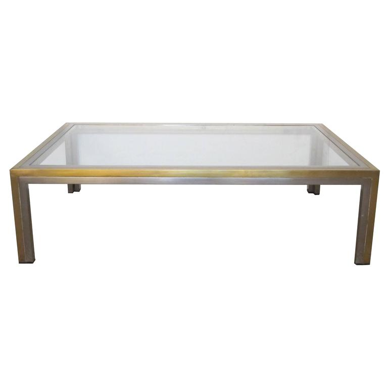 Stylish French 1970s Brass And Brushed Steel Coffee Table
