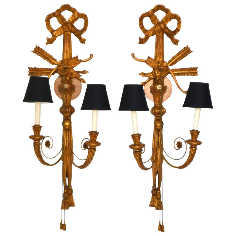 Pair of Neoclassical Giltwood Two-Arm Wall Sconces