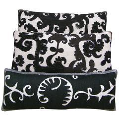 Three Antique Embroidery Suzani Pillows, circa 1920