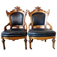Pair of Rococo Revival John Jelliff Parlor Chairs