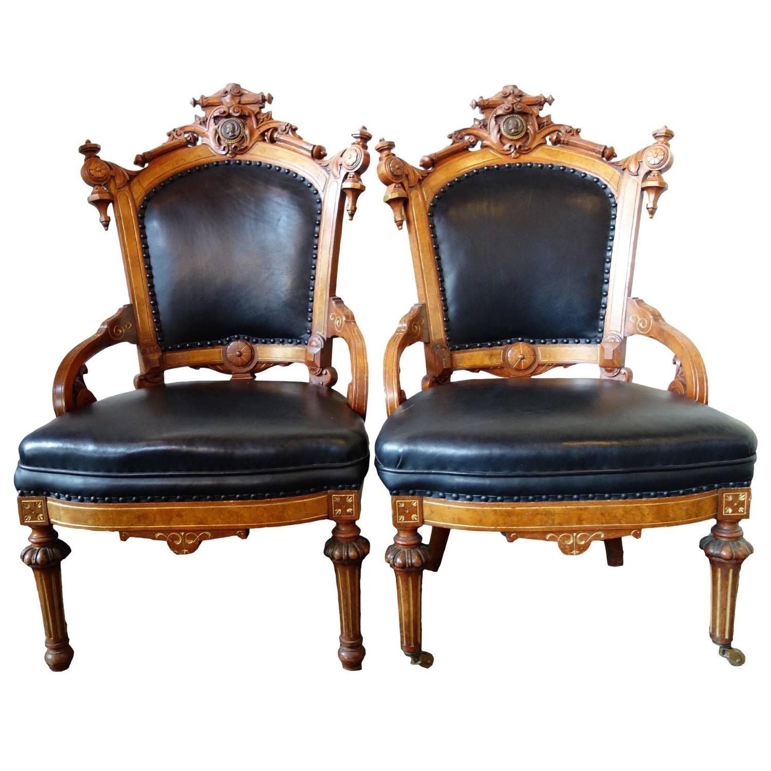 Pair of Rococo Revival John Jelliff Parlor Chairs at 1stdibs