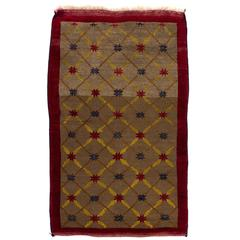 Camel Wool Karapinar Rug with Lattice Design
